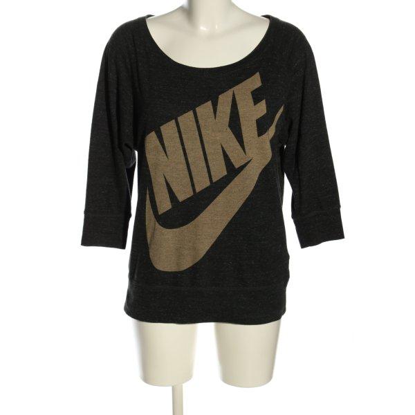 Nike Print-Shirt schwarz-creme Schriftzug gedruckt Casual-Look
