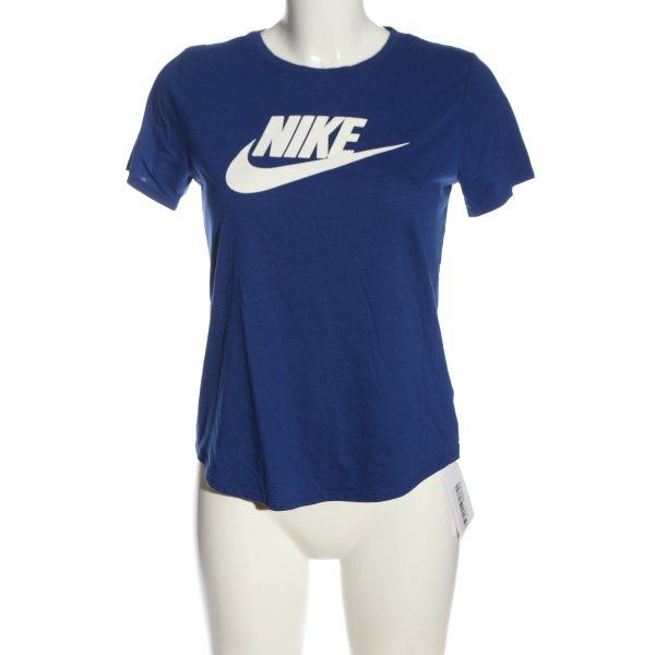 Nike Print-Shirt blau-weiß Schriftzug gedruckt Casual-Look