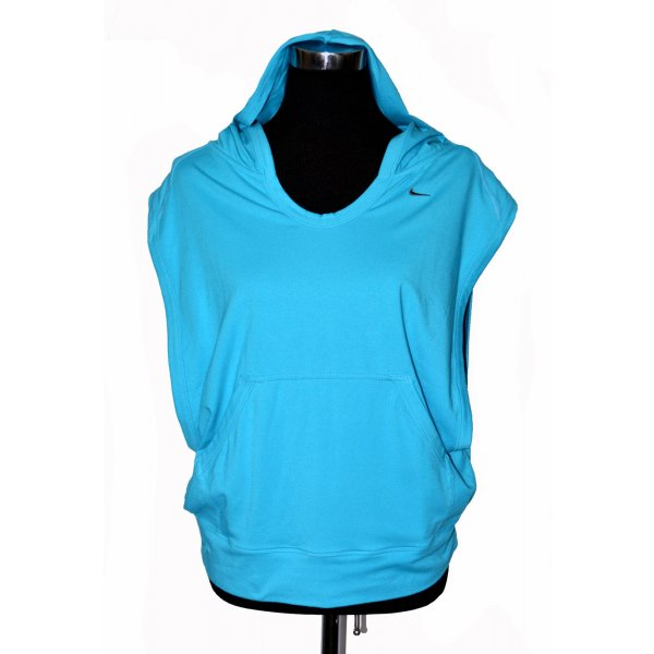 NIKE Sport Hoodie ohne Ärmel m. Kapuze - Größe 40/42 - türkis blau - 1A