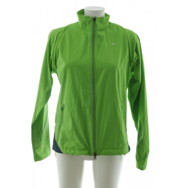 Nike Sportjacke grün-blau Schriftzug gestickt sportlicher Stil