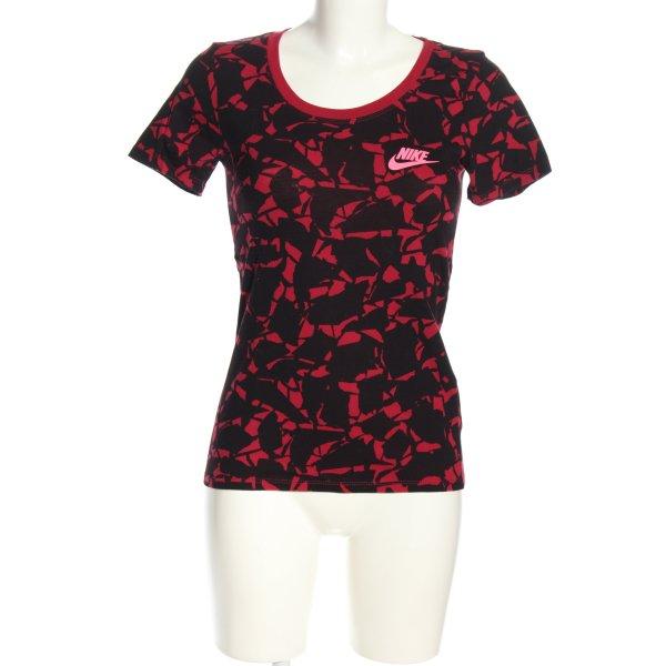 Nike T-Shirt schwarz-rot abstraktes Muster Casual-Look