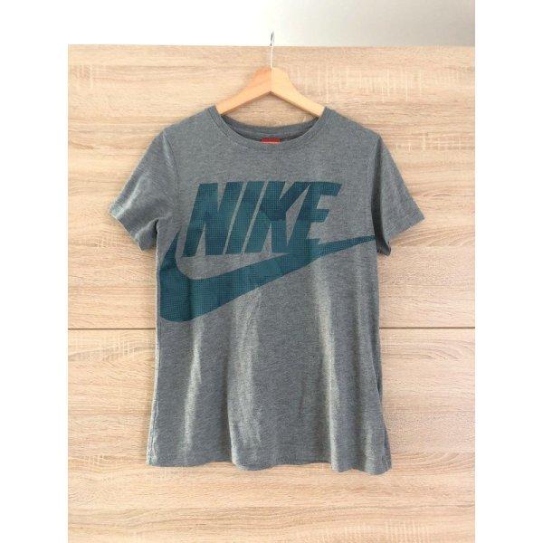 Nike t-shirt mit blauem Logo Aufdruck, grau