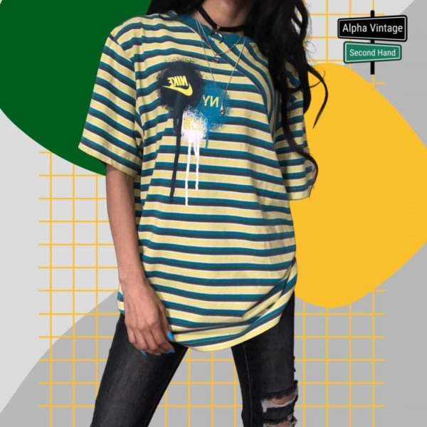 Nike T-Shirt Vintage y2k Retro gestreiftes Shirt   XL/158-170 cm