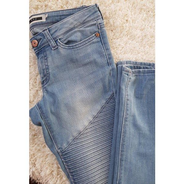 Noisy May Damen Skinny Jeans mEve Low Waisted Super Stretch Skinny Biker in blau
