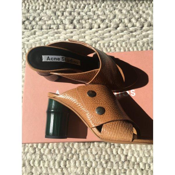 NP 550 Euro Neu mit Etikett Mules Acne Studios Bambus Absatz Gucci Style Echtes Leder Braun