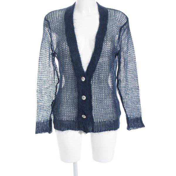 nü by staff-woman Cardigan dunkelblau Webmuster schlichter Stil