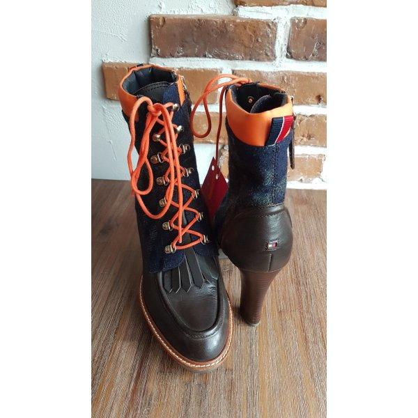 NUR HEUTE FÜR 45€! Tommy Hilfiger Leder/Textil ausgefallene Schnürboots, Ankle Boots  Superzustand! Größe 39/39,5