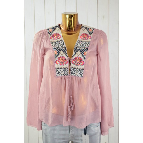 ODD MOLLY Damen Tunika Bluse Seide Rosa Bunt Bestickt Transparent Gr.1/36
