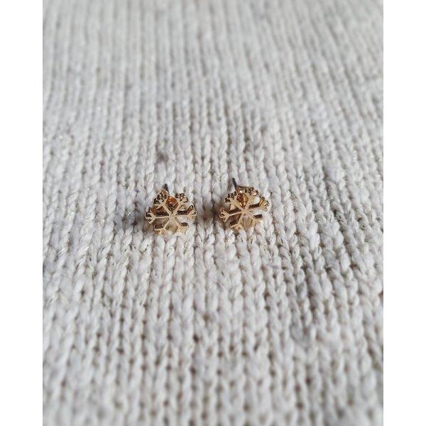 Ohrstecker Ohrringe Schneeflocke fein gold neu