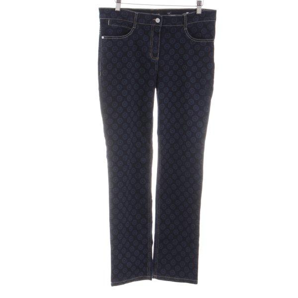 Olsen Straight-Leg Jeans blau-schwarz Allover-Druck Casual-Look