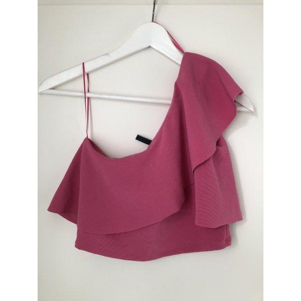 One Shoulder Top Pink Rosa Rüschen