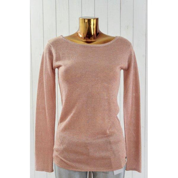 ONE TEASPOON Damen Pullover Strick Baumwolle Lurex Ecru Kupfer Glitzer Gr.8/ 36