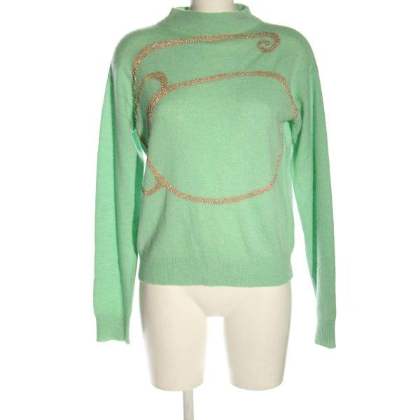 onefifteen Feinstrickpullover grün-goldfarben Casual-Look