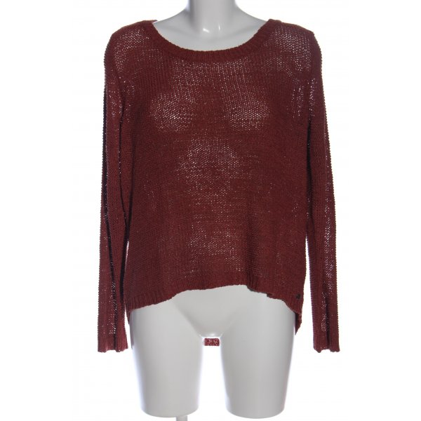 Only Grobstrickpullover rot Zopfmuster Casual-Look