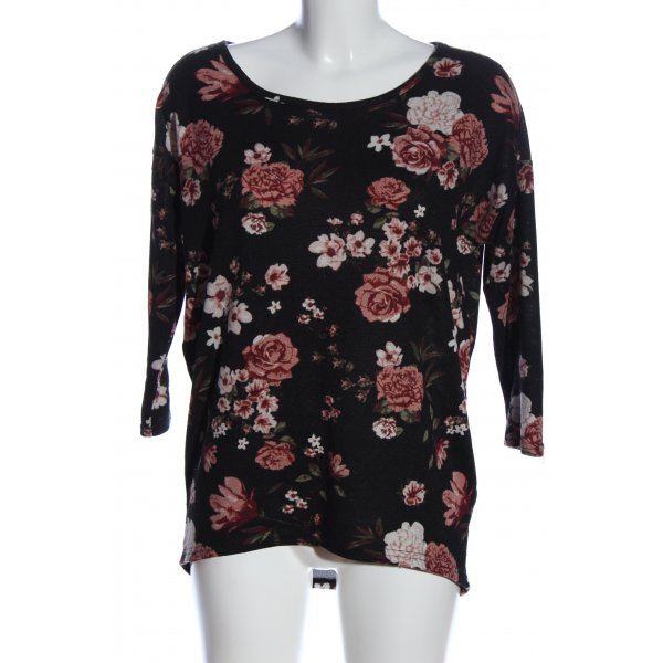 Only Long-Bluse schwarz-rot Allover-Druck Casual-Look