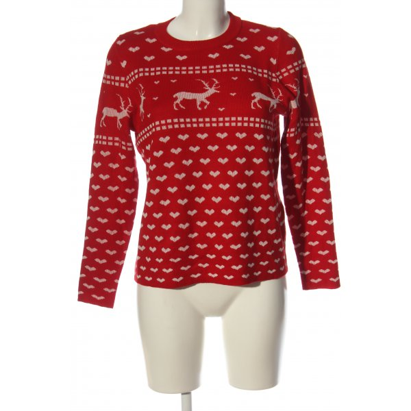 Only Weihnachtspullover rot-wollweiß Allover-Druck Casual-Look