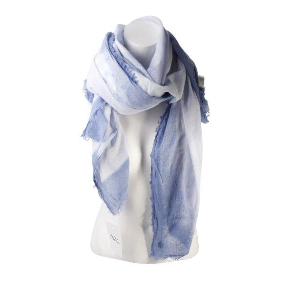 Opus Fransenschal kornblumenblau-himmelblau Batikmuster Hippie-Look