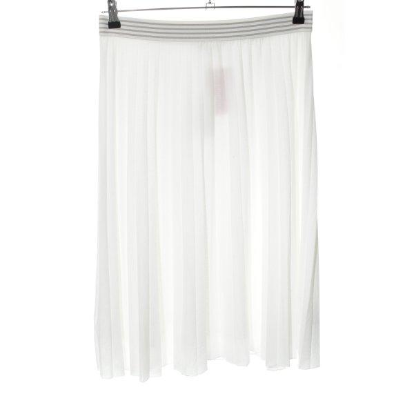 Opus Midirock weiß-silberfarben Streifenmuster Casual-Look