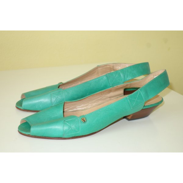 Org. AIGNER vintage Peeptoe Sandaletten in türkis-grün Gr.38 wie neu