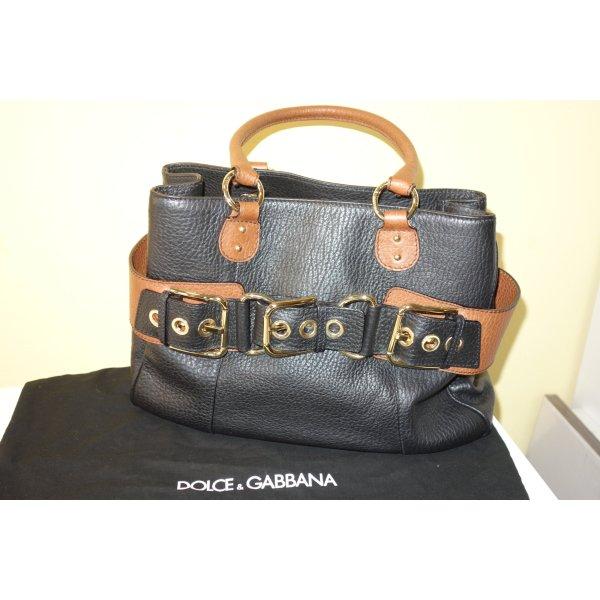 Org. DOLCE & GABBANA black label Tasche aus Leder mit Metallspangen wie neu