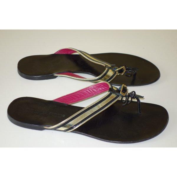 Org. DSQUARED Zehen-Sandaletten aus Leder Gr.38