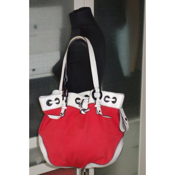 Org. ESCADA Sport Schultertasche aus Canvas/Leder in rot/weiß