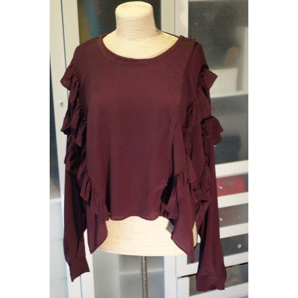 Org. FAITH CONNEXION oversized Seiden-Bluse/Shirt mit Volants in bordeaux Gr.M