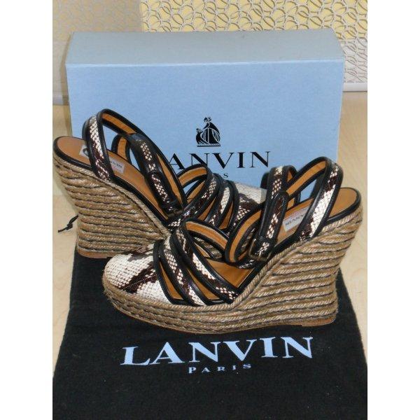 Org. LANVIN Runway Pythonleder Wedges mit Bast-Absätzen inkl.Karton+Dustbag