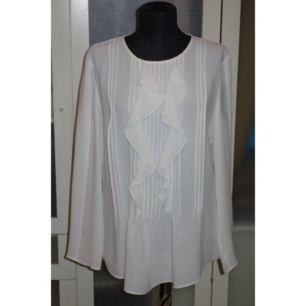 Org. LUISA CERANO Crepe Bluse in weiß mit Volants Gr.40