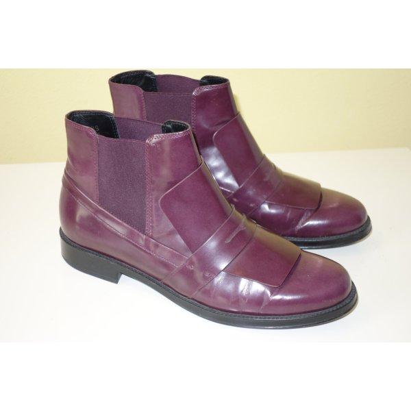 Org. TOD'S Chelsea Boots in pflaume Gr.39 Glattleder