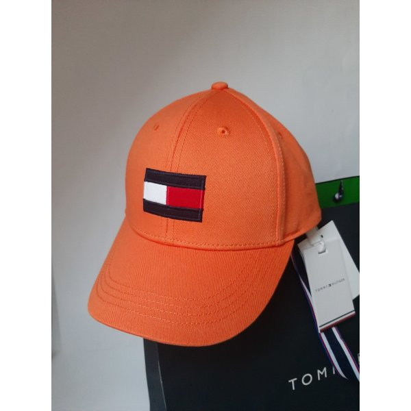 Orginal Tommy Hilfiger Cappy, Big Flag, Orange, Ge L, Umfang 53- 57,5 cm, Hochwertig!