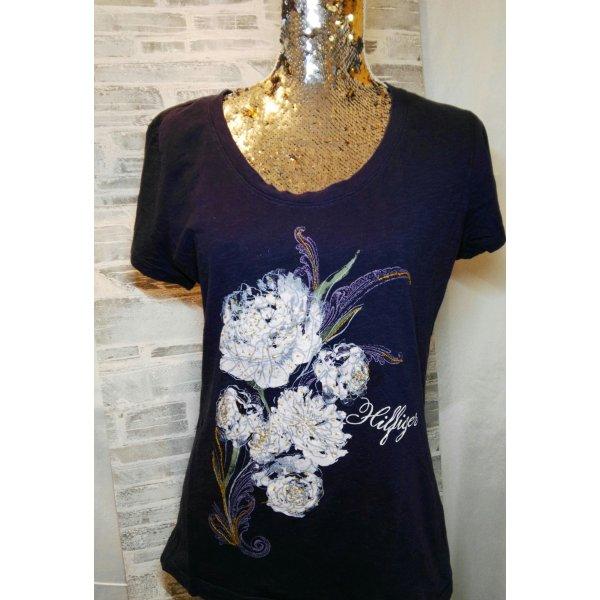 Orginal Tommy Hilfiger T Shirt & Stickerei, Blau/weiss Gr. L
