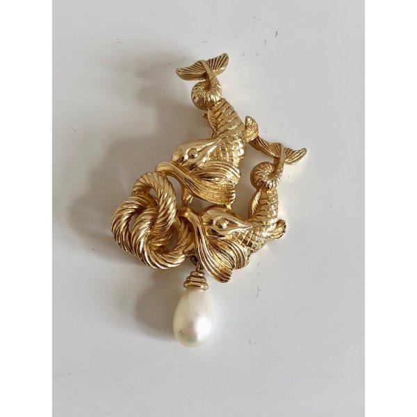 Orig. Christian Dior 18K gold Goldfische Perle Pin Brosche Anstecker Anstecknadel vergoldet Luxus Vintage