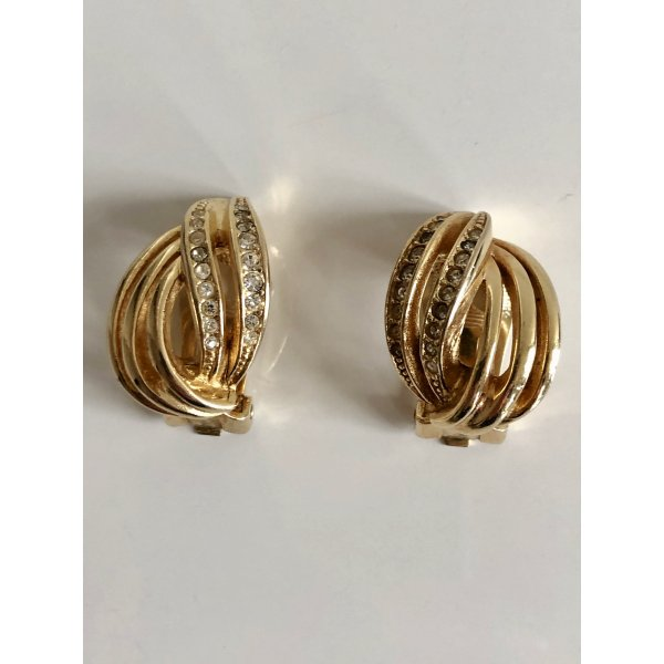 Orig. Christian Dior Designer Ohrclips 18K gold Clips  Steine Kristalle Ohrringe vergoldet