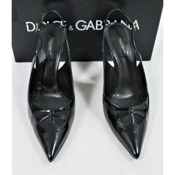 """Orig. Dolce & Gabbana """"Black Label"""" Slingback-Pumps/ Lackleder / Schwarz/Gr.38/TOP ZUSTAND!"""