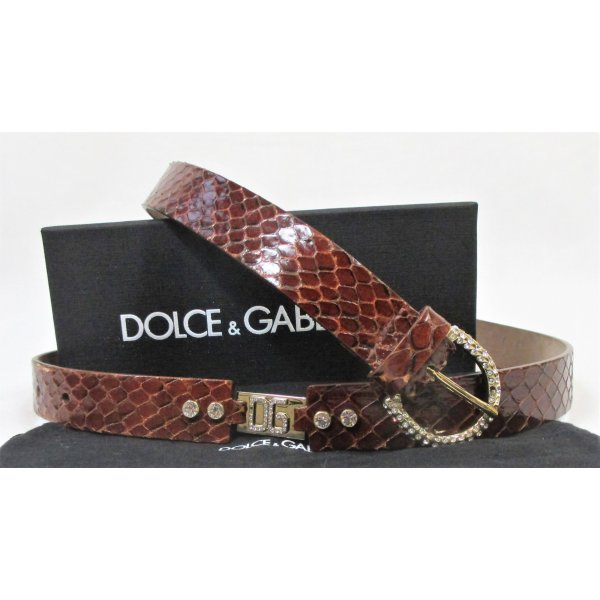 "Orig. Dolce & Gabbana ""Black Label"" verzierter Ledergürtel/Rostbraun- Gold/Swarovski Steine/Gr.100/Hervorragend!"