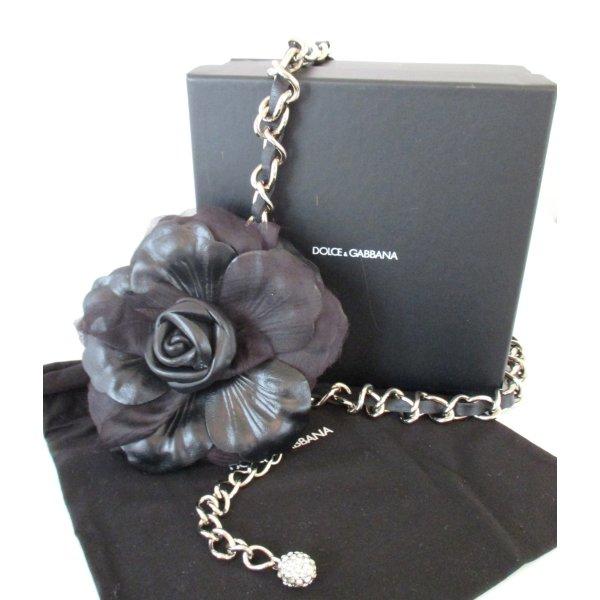 Orig. Dolce & Gabbana Kettengürtel aus Leder/Chiffon/Metall/NEU!