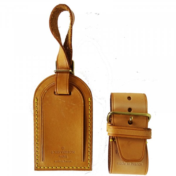 ORIG. Louis Vuitton Adress Anhänger Set ID-TAG GURT Vachetta Keepall Koffer Tasche / NEU UNGEBRAUCHT
