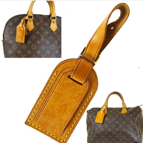 Orig Louis Vuitton Taschen Adress Anhänger Charm Leder Small Speedy Alma / NEUWERTIG