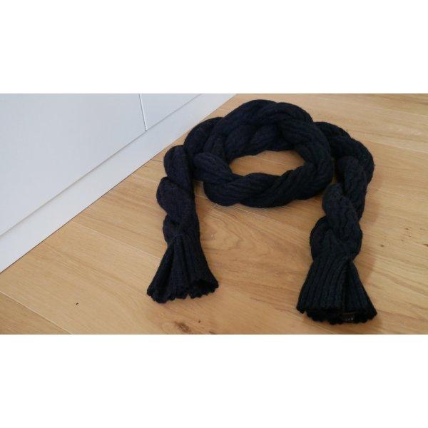 Original Burberry Strickschal Schal Wollschal gedreht schwarz anthrazit dunkelgrau Luxus grau