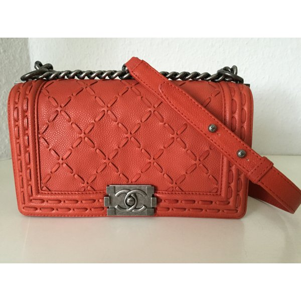 Original Chanel Tasche Boy Bag Orange Rot Silber Kette Medium Leder Dust Bag Box