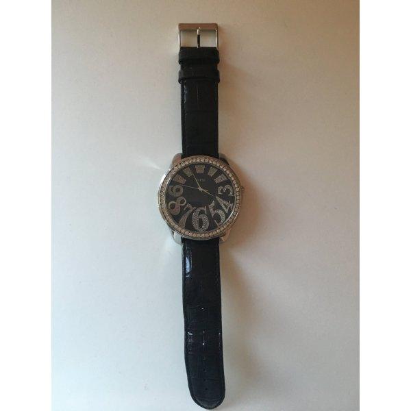 Guess Reloj analógico negro-color plata Cuero