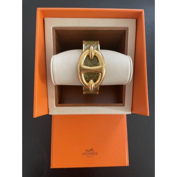 Original Hermès Paris Vintage Armreif Armband Cuff Alligatorleder