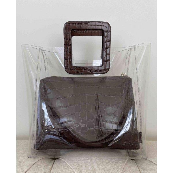 Original Staud Tasche schwarz Leder shirley bag transparent