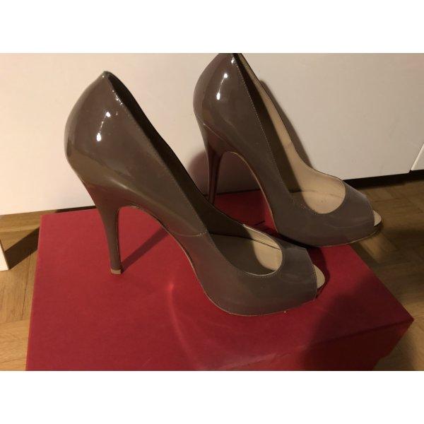 Original Valentino Peep Toes taupe Gr 38 Lackleder wie neu