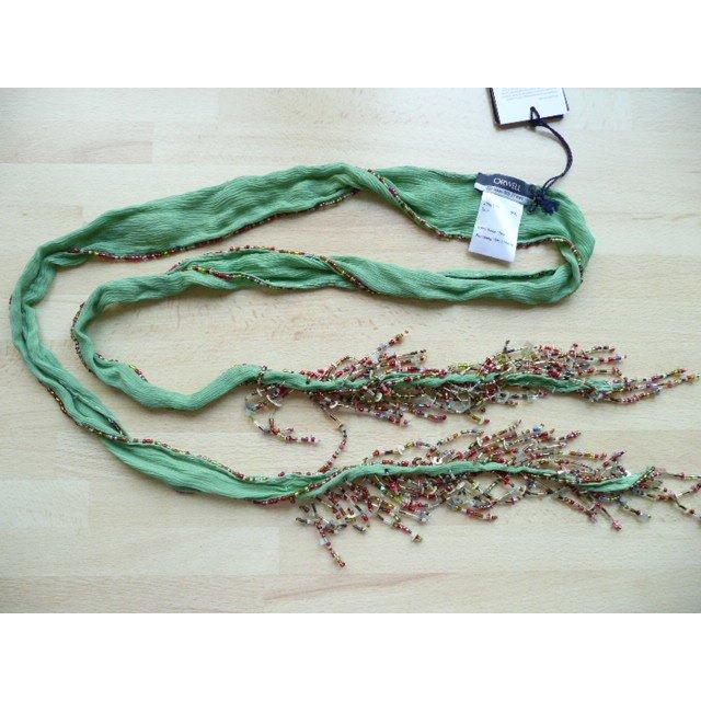 Orwell grüner Seidenschal o Schalgürtel mit bunten Perlenfransen