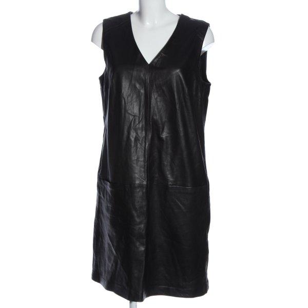 Oui Leren jurk zwart casual uitstraling