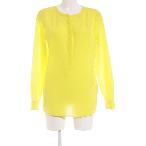 Oui Long-Bluse gelb Transparenz-Optik