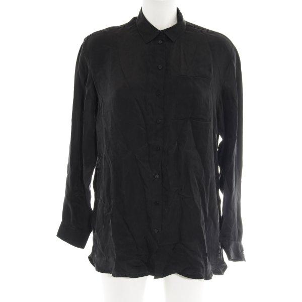 Oversized Bluse schwarz schlichter Stil