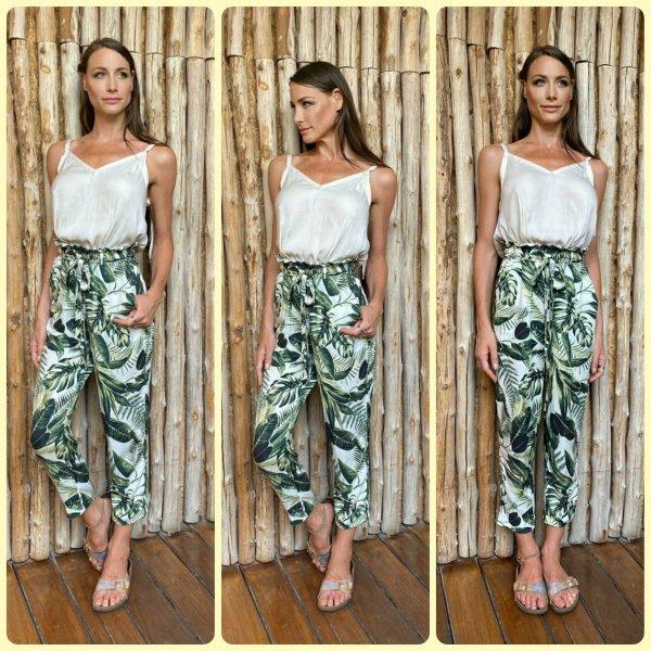Paperbag Hose  Slacks Chino Stoffhosen high waist tropical sommerhose